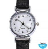 Horloge voor de smalle pols- Jol- Zwart lederbandje- 26 mm