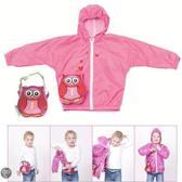 Opvouwbare kinder regenjas met opbergtasje Roze Uiltje * Maat 98-104