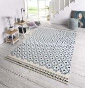 Design vloerkleed Cubic - crème/blauw 200x290 cm