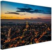 Skyline parijs bij nacht Canvas 180x120 cm - Foto print op Canvas schilderij (Wanddecoratie woonkamer / slaapkamer) / Steden Canvas Schilderijen XXL / Groot formaat!