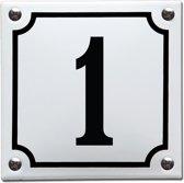 Emaille huisnummer wit/zwart nr. 1