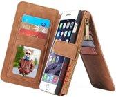 CASEME Apple iPhone 6/6s Luxe Lederen Portemonnee Hoesje - met backcover (bruin)