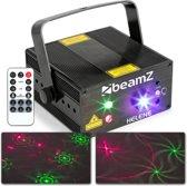 BeamZ Helene disco laser met rode en groene laserstralen en blauwe gloed