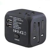 JustAnotherProduct Universele Wereldstekker met zekering - 2 USB poorten - Reisadapter - 150+ landen - Zwart