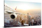 Vliegtuig boven Peking Aluminium 120x80 cm - Foto print op Aluminium (metaal wanddecoratie)