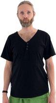 Yogashirt zwart heren - bio katoen - v-hals