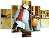 Glas schilderij Scooter, Motor   Bruin, Geel, Blauw   100x70cm 5Luik   Foto print op Glas    F007213