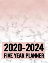 2020 - 2024 5 Year Planner: Pink and Marble 60 Months Calendar and Organizer, Monthly Planner with Holidays. Plan and schedule your next five year