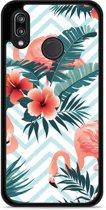 Huawei P20 Lite Hardcase Hoesje Flamingo Flowers