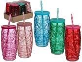 6x Gekleurde glazen tiki drinkbekers met rietje 550 ml