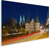 Drukke straten in het centrum van het Duitse Lübeck Plexiglas 30x20 cm - klein - Foto print op Glas (Plexiglas wanddecoratie)