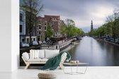 Fotobehang vinyl - De Prinsengracht van Amsterdam bij daglicht breedte 450 cm x hoogte 300 cm - Foto print op behang (in 7 formaten beschikbaar)