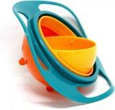 Baby Kom | Eetbakje | Eetkom | Anti Mors | 360 Graden | Draaiend | Kinderen | Babyvoeding | Roterend |Universeel | Spill Proof | Oranje met groen
