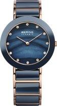 BERING Ceramic 11435-767 - Horloge - Staal | Keramiek - Rosékleurig | Blauw - Ø 35 mm
