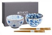 Tokyo Design Studio 7449 Kommenset Rond Blauw, Wit 2stuk(s) eetschaal