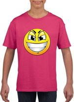 Smiley/ emoticon t-shirt ondeugend roze kinderen M (134-140)