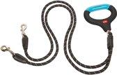 Wigzi Dual Doggie - reflecterende hondenriem voor twee honden met gelhandvat - 1,37m - Zwart