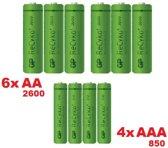 GP 6x AA 2600 + 4x AAA 850 ReCyko+ Oplaadbare Batterijen -10 stuks