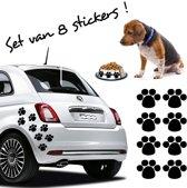 Stickythings Hondenpootjes 8 stickers Zwart 6cm