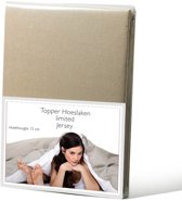Limited jersey topper hoeslaken - taupe - (160x200/210 cm)