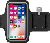 Universele Smartphone Hardloop Armband Zwart/ Hardloopband Sportband -  Hardloopband - Sportband - Hardloop Riem Met Smartphone Houder / Spatwatervrij, Reflecterend, Neopreen, Comfortabel, Verstelbaar, Koptelefoon Aansluitruimte en Sleutelhouder!