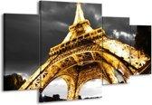 Canvas schilderij Eiffeltoren | Geel, Zwart, Grijs | 160x90cm 4Luik