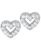 The Jewelry Collection Oorknoppen Hart Zirkonia - Zilver Gerhodineerd
