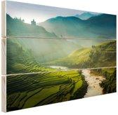 Groene vlakte in Azie Hout 160x120 cm - Foto print op Hout (Wanddecoratie) XXL / Groot formaat!