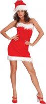 Strapless kerst jurkje met muts S/m