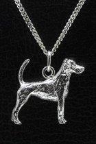 Zilveren Jack russell terrier parson gladhaar met staart ketting hanger - groot