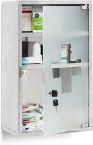 medicijnkastje XL - afsluitbaar - badkamer kast - edelstaal en glas