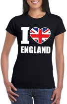 Zwart I love Engeland fan shirt dames XS