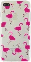 GadgetBay Transparante Roze flamingo hoesje iPhone 7 Plus 8 Plus case cover