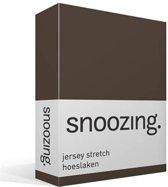 Snoozing Jersey Stretch - Hoeslaken - Lits-jumeaux - 200x200/220 cm - Bruin