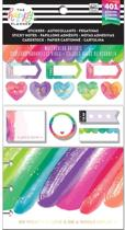Me and My Big Ideas - Happy Planner Note Cards/Sticky Note Multi Pack - Watercolored Brights - 401Pieces
