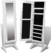 vidaXL - Staande spiegel Sieradenkast met spiegel 146 x 36 x 40 cm (wit)