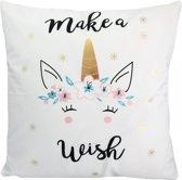 Make A Wish Unicorn Kussenhoes - Katoen/Flanel - 45 x 45 cm