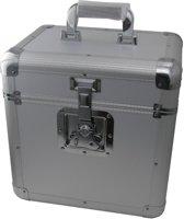 Vinyl koffer LP koffer voor 70 tot 100 platen afsluitbaar zilver aluminium