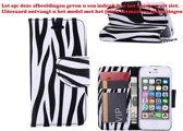 Xssive Hoesje Voor Apple iPhone 4 of iPhone 4S Boek Hoesje Book Case Zebra Print