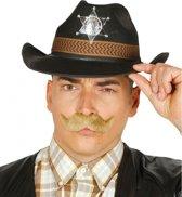 Zwarte cowboyhoed met sheriff badge voor volwassenen