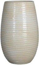 Mica Decorations ingmar vaas gebroken wit geribbeld maat in cm: 35 x 18