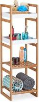 relaxdays badkamerrek met 4 vakken - open keukenrek - bamboehout - vrijstaand rek - hoog