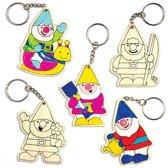 Houten sleutelhangers met kabouters om zelf in te kleuren en te versieren – Creatieve knutselset voor kinderen (6 stuks per verpakking)
