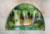 Fotobehang Waterfall Lake Arch View   XL - 208cm x 146cm   130g/m2 Vlies