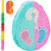 relaxdays 3-delige Pinata set babyshower - pinatastok - blinddoek - Piñata volledige set