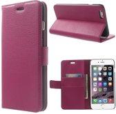 Litchi cover wallet case hoesje iPhone 5 5S SE roze