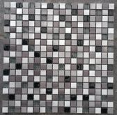 Mozaiek tegel Aluminium Glas vierkantjes