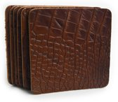Tannery Leather Croco Onderzetter Leer 6 stuks Cognac - Vierkant