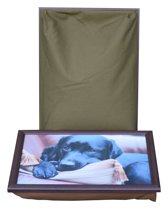 L-line by Jis Laptray, Schoottafel, Schootkussen, Laptoptafel, Dienblad met kussen zwarte Labrador op kussen - 43x32 cm