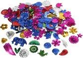 Paillettenmix, afm 15-45 mm, sterke kleuren, carnaval, 30gr